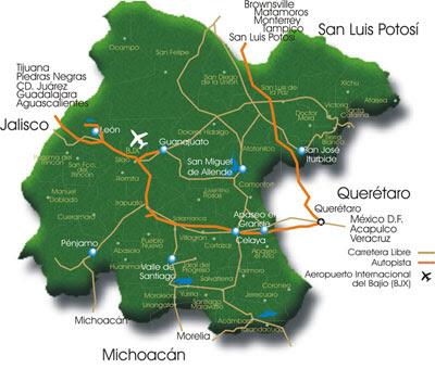 Mapa de Guanajuato Política Regional