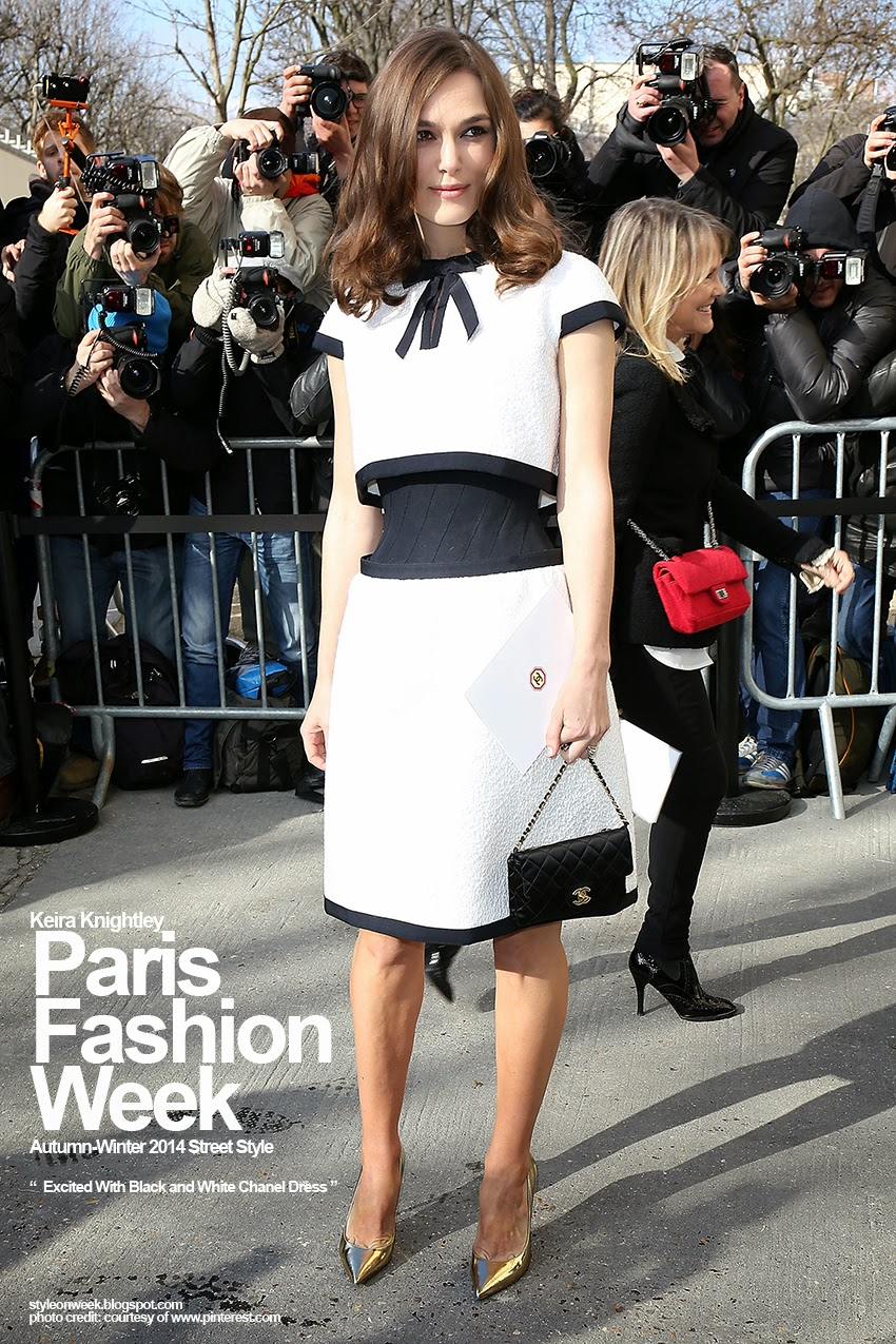 Paris Fashion Week Autumn-Winter 2014 Street Style - Excited With Black and White Chanel Dress
