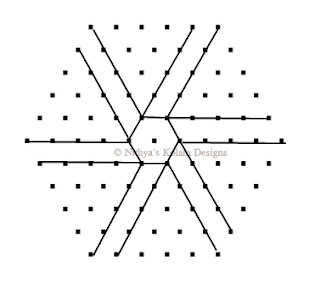 4 Triangle kolam Interlocked dots 11 x 6