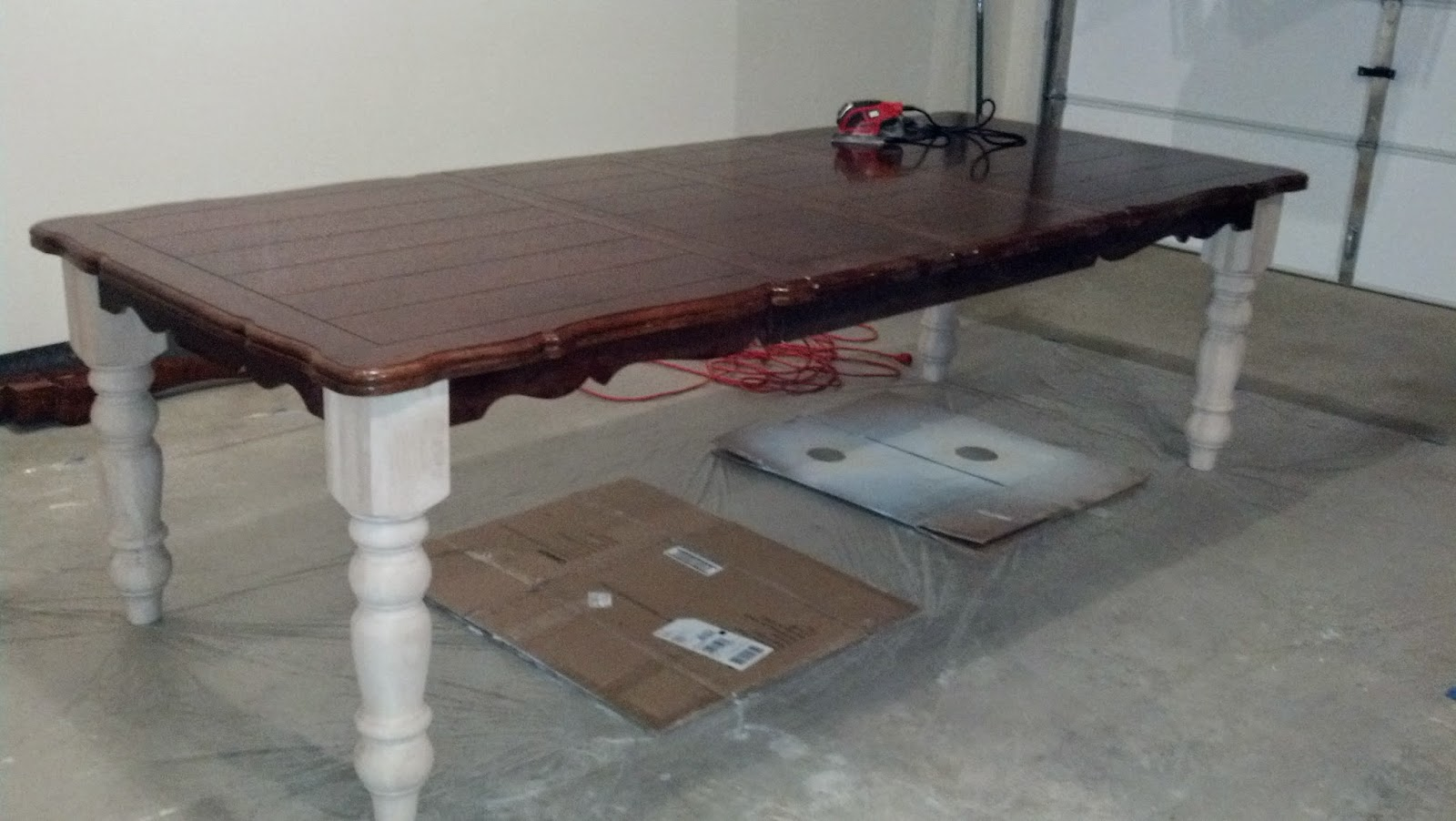 Bentleyblonde diy farmhouse table dining set makeover with once the table was put together hubby and i began the slow messy and laborious process of stripping and sanding the tabletop i would just like to pause geotapseo Choice Image