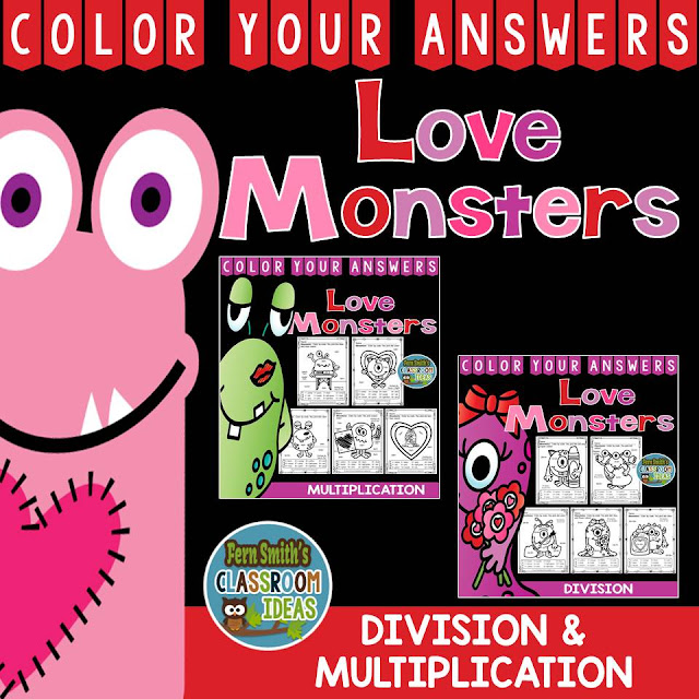Valentine's Day Fun! Valentine's Day Love Monsters Multiplication and Division Facts - Color Your Answers Printables for St. Valentine's Day Multiplication and Division