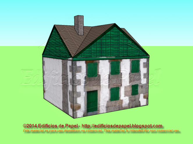 Large cottage in green paper model