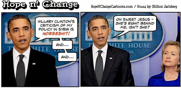obama, obama jokes, hillary clinton, horseshit, syria, hope n' change, hope and change, stilton jarlsberg, conservative, political, cartoon