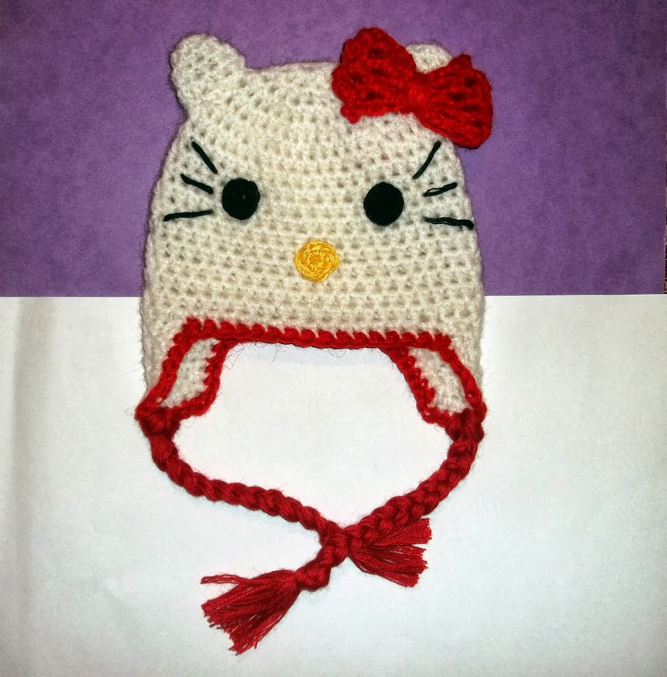Free Crochet Pattern Hello Kitty Hat : Cute Designs: Hello Kitty Hat Crochet Pattern