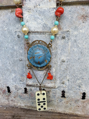 antique scarab on brass filigree wit vintage domino necklace