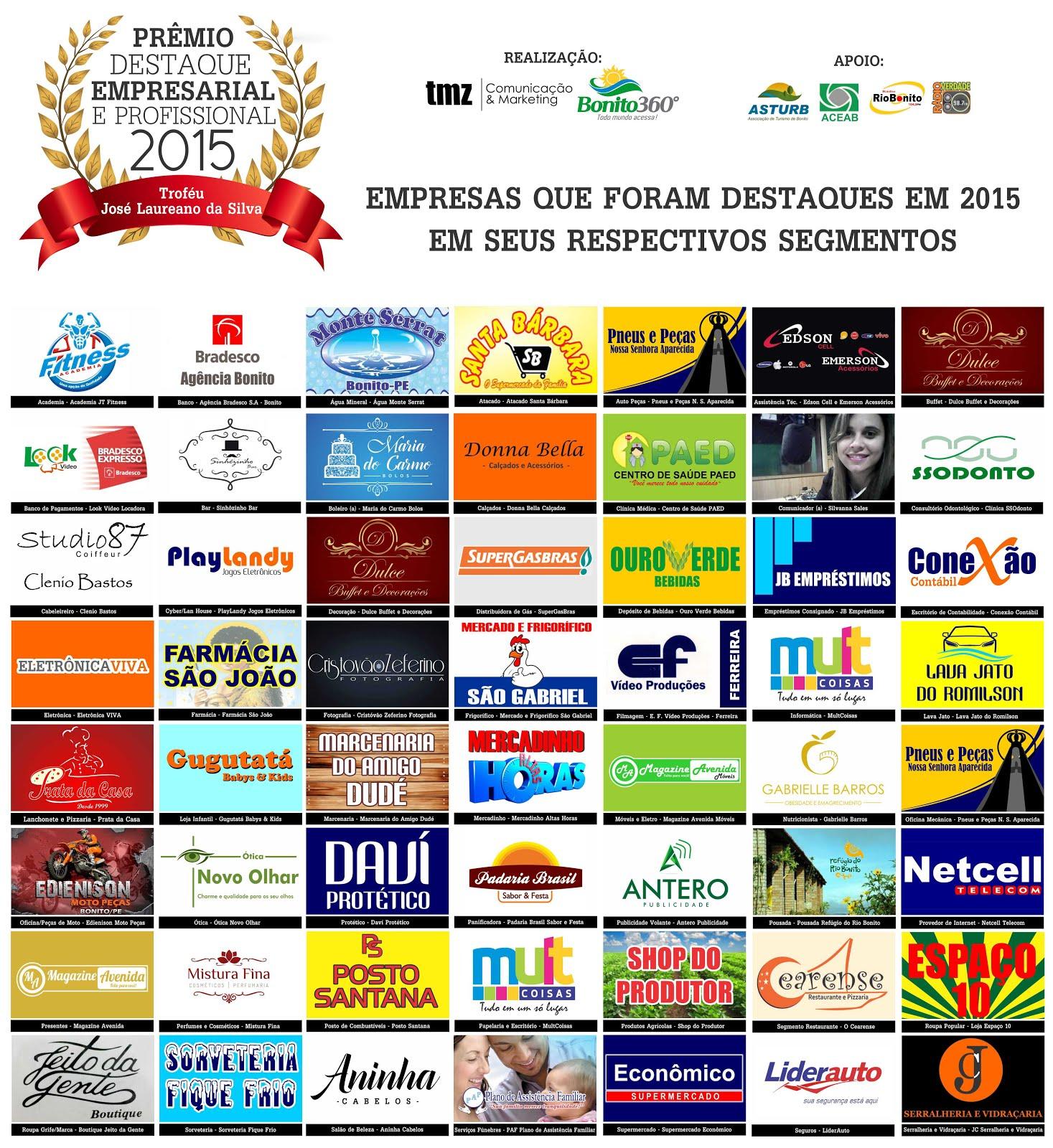 Prêmio Destaque Empresarial e Profissional 2015 - Bonito360graus e TMZ Comunicação