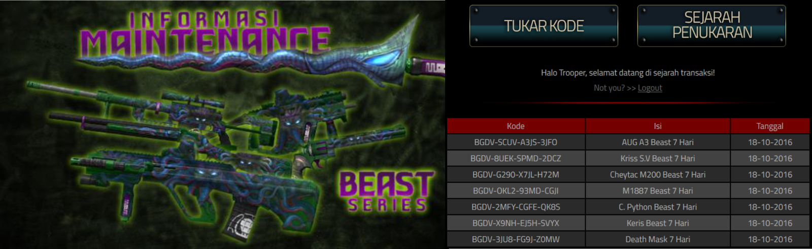 Redeem Code Seri Beast