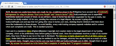 jesus-is-savior.com Trademark Dispute