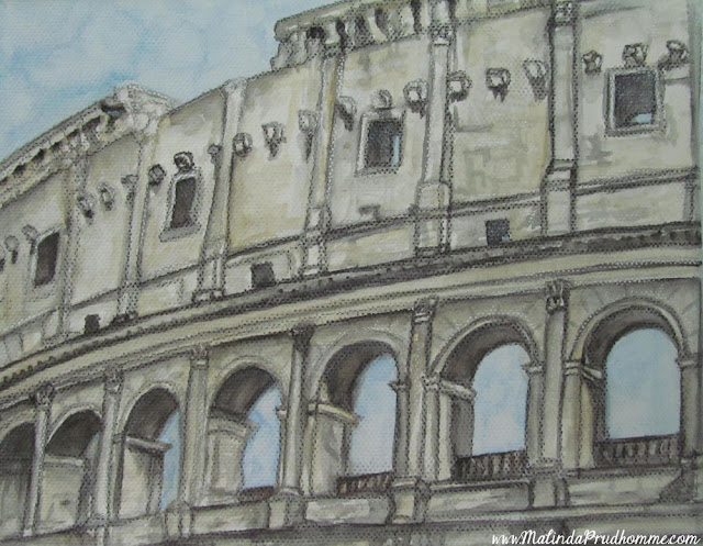 travel artist, mixed media artist, watercolour paintings, travel art, charcoal artist, mixed media art, original paintings, rome, colosseum, italy
