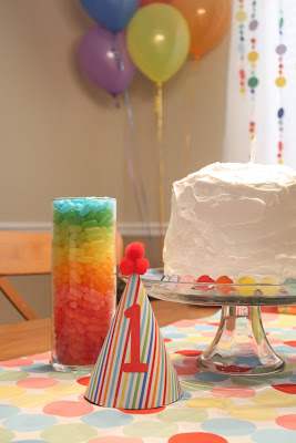 first birthday rainbow decoration and cake