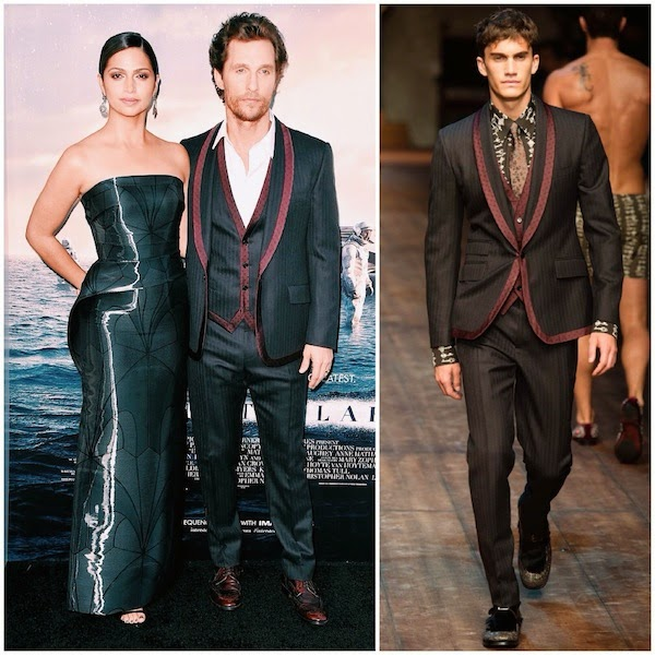 Camila Alves McConaughey wears Rubin Singer gown and Matthew McConaughey wears Dolce Gabbana Fall Winter 2014 red contrast trim suit to premiere of Interstellar Los Angeles 26th October 2014