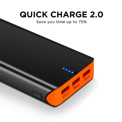 EasyAcc Quick Charge 2.0 20000mAh Portable External Battery with 3 Ports Fast Smart Travel Charger (15W / 5V 9V 12V Supported) for Samsung S6 Edge