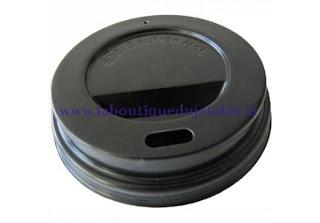 Couvercle en plastique de couleur noir pour gobelet café en carton
