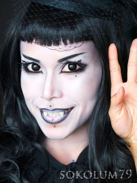 Monochromatic vampire makeup