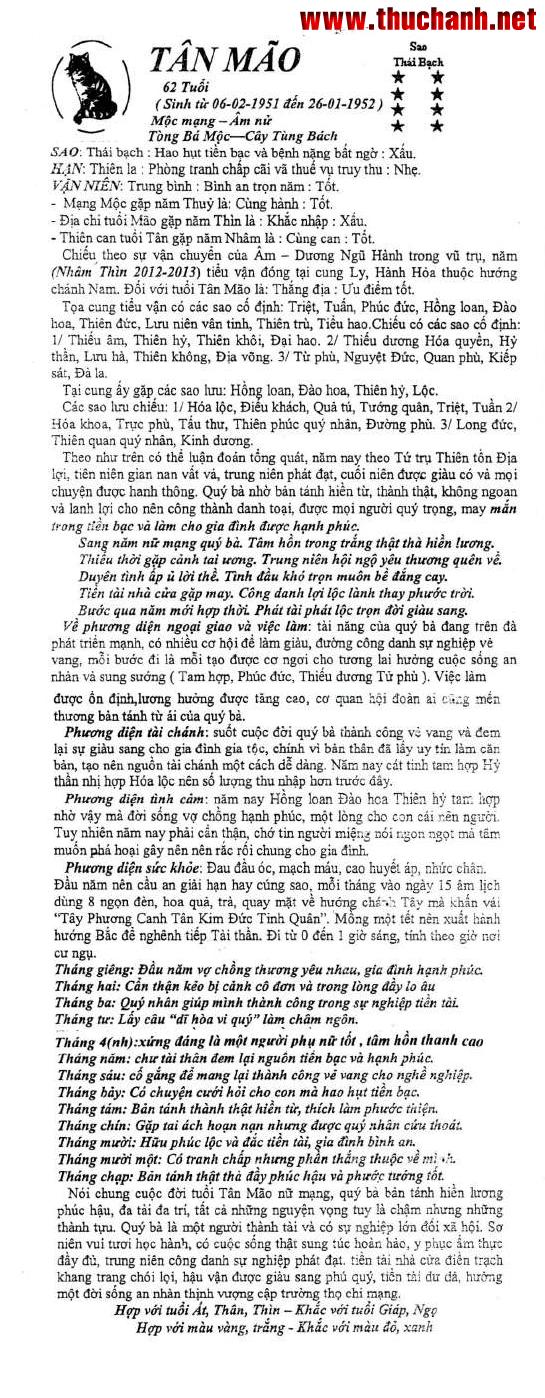 Xem tử vi tuổi Tân Mão nữ mạng năm 2012 Nhâm Thìn