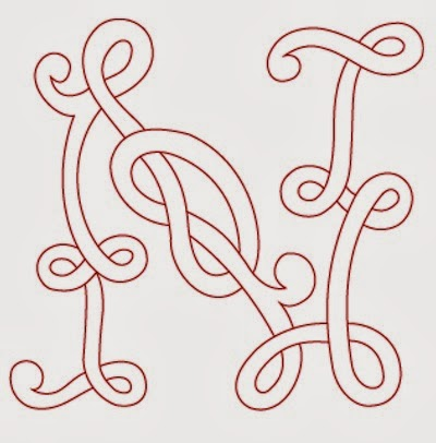 N Celtic calligraphy monogram tattoo stencil