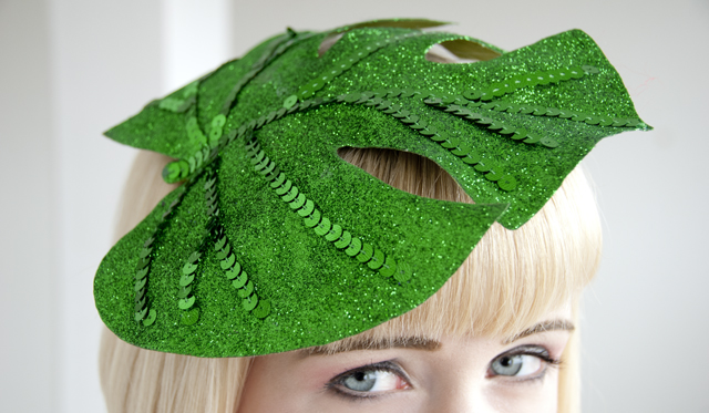 pearls and swine, leaf, hat, jungle, fascinator