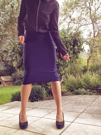 neoprene pencil skirt navy