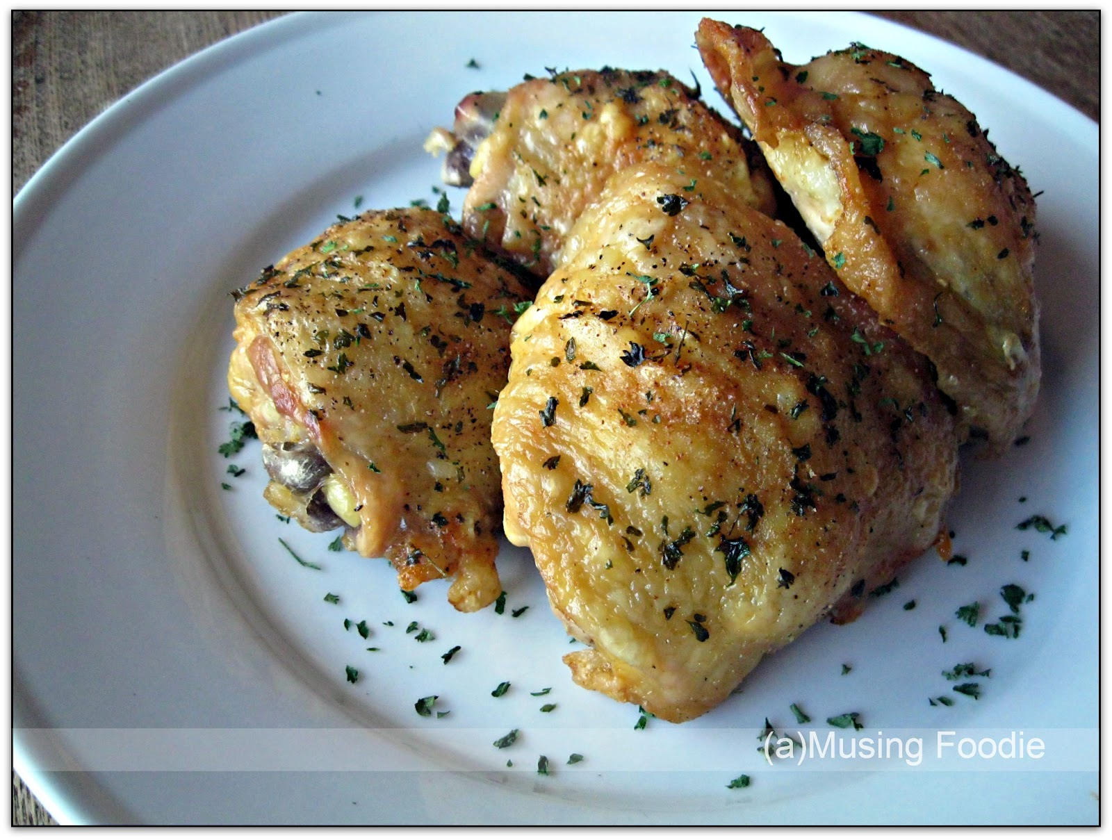 Easy oven fried chicken thighs with perfectly crispy skin a musing foodie - Easy oven dinner ...