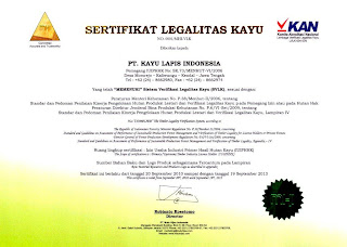 Sertifikat legalitas kayu lapis indonesia