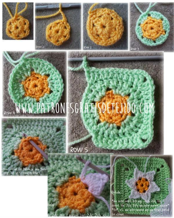 Paso a paso cuadro crochet con flor central