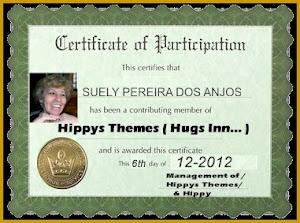 Cerfificado de Participação que me  foi entregue por Hyppy Themes dos  Estados Unidos no ano de 201