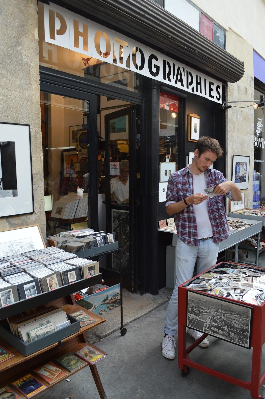 Photography shop in Le Marais, Marché des enfants rouges Paris