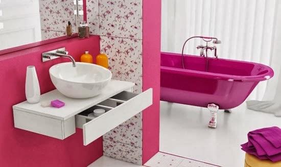 Banheiros cor de Rosa