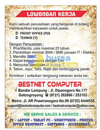 Lowongan Kerja BESNET Computer Lampung dan Metro