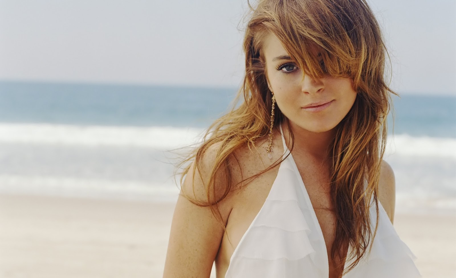 Lindsay Lohan on Beach in white bikni