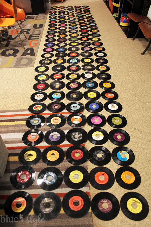 Laying out records for feature wall