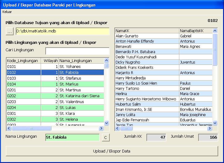 Ekspor Data Paroki ke Database Lingkungan