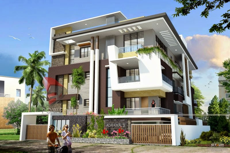3d rendering exterior of bungalow Villa designs india
