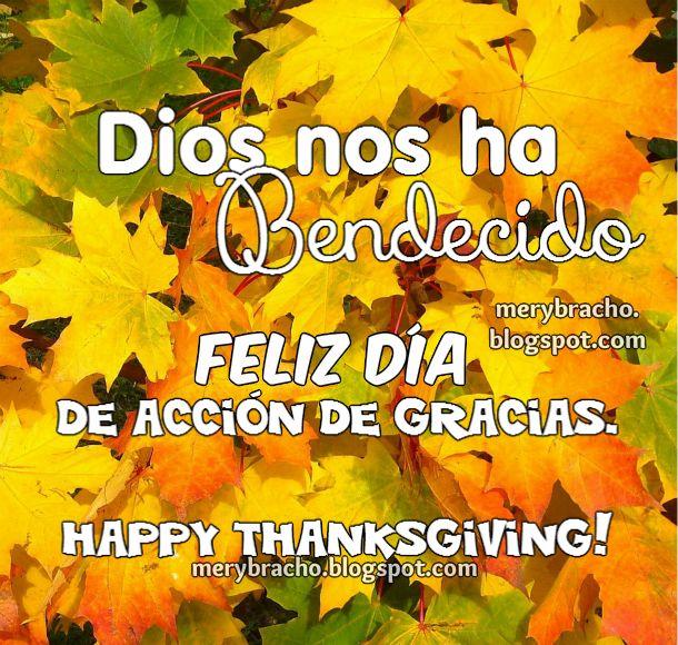 Imagen Feliz día de Acción de Gracias 2014. Happy Thanksgiving. Tarjeta con frases de Gracias.