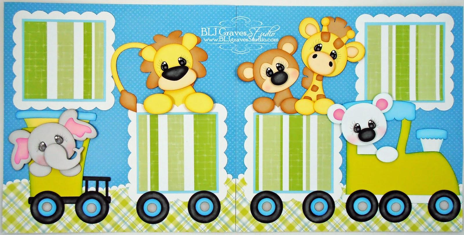 Zoo animal scrapbook ideas - Baby Boy Train Zoo Scrapbook Pages