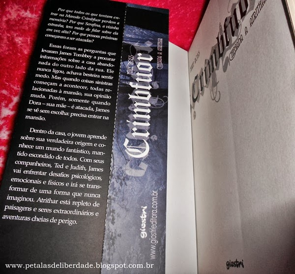 Crimbfuor - Chegada a Atrithar, Mike Ross, Giostri, orelha interna, marcador de página, livro