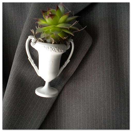 this trophy boutonniere with succulent was actually inspired by kentucky derby