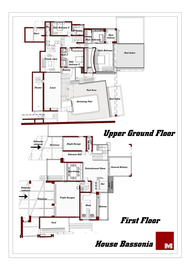 Mansion floor plans of the upper floors