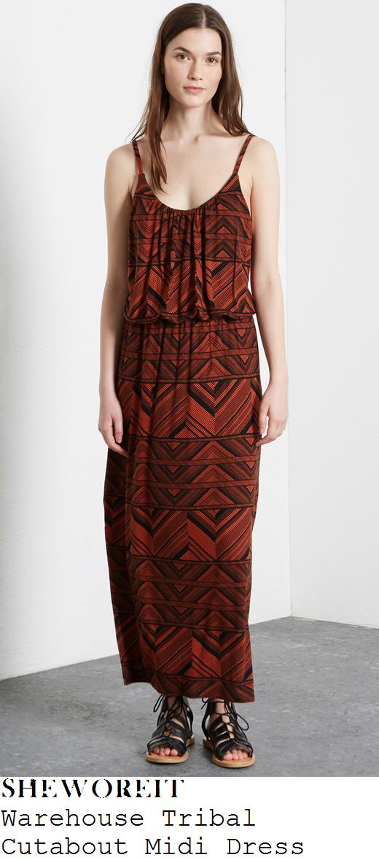 lauren-pope-orange-gio-tribal-sleeveless-maxi-dress