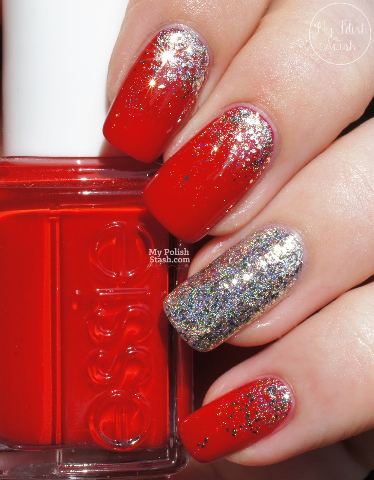 red with silver nail art