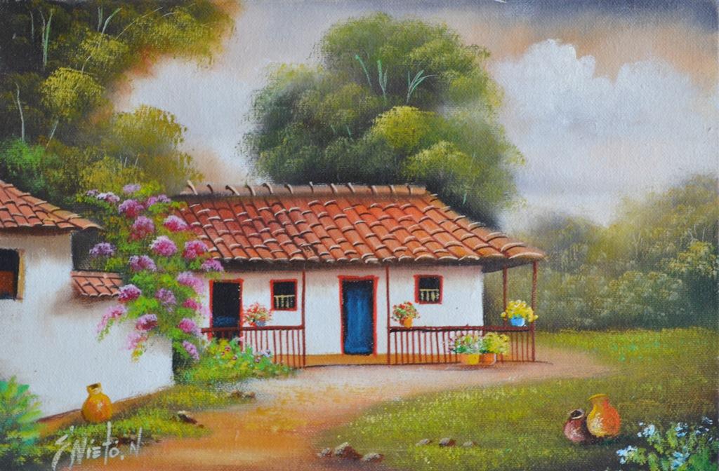 Im genes arte pinturas paisajes colombianos pintados con - Cuadros de casas de campo ...