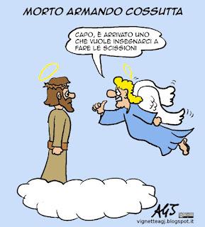 Cossutta, comunismo, insegnare agli angeli, vignetta satira