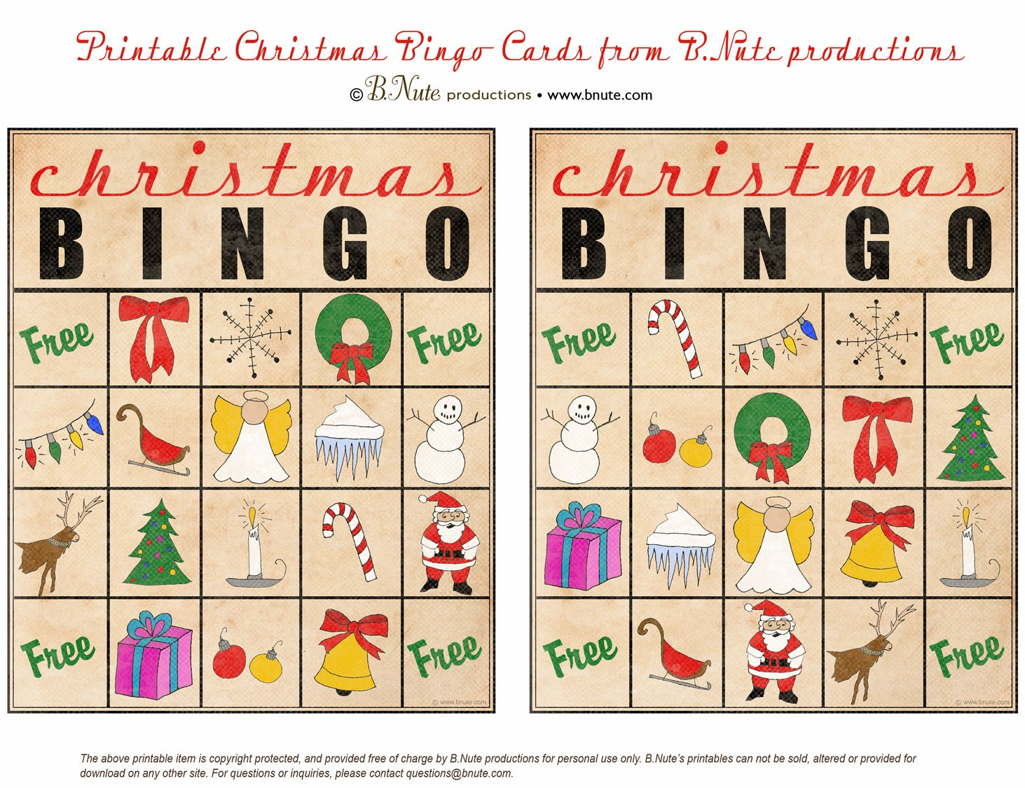 Bright image for christmas bingo free printable