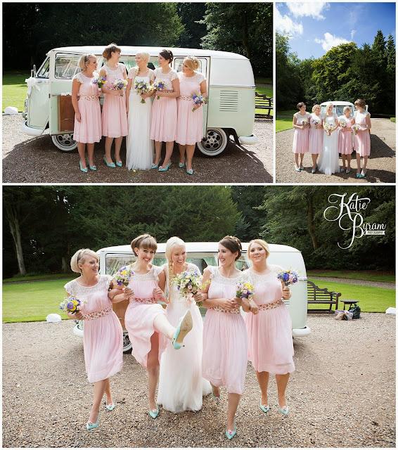 bridesmaids, pink and mint wedding, camper van hire newcastle, wedding camper van northumberland, eshott hall, eshott hall wedding, morpeth wedding, katie byram photography, vintage wedding
