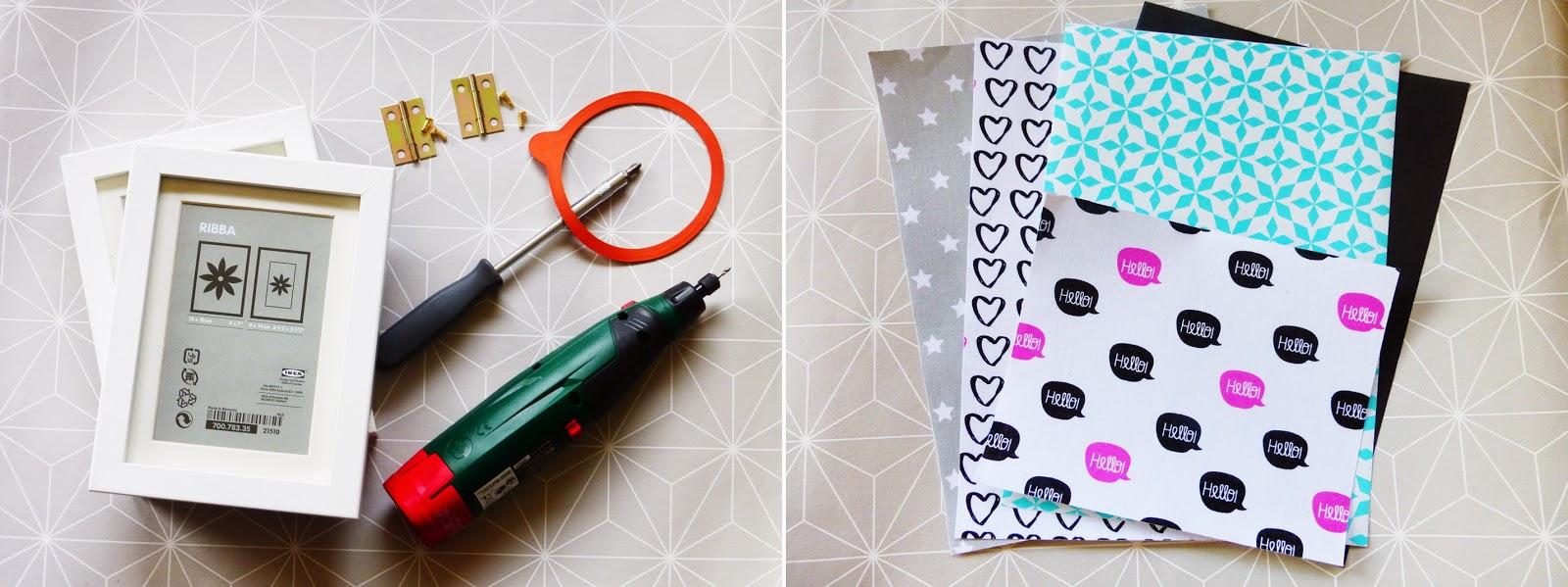 Material für Ikea-Hack Schmuckkästchen aus Ribba Bilderrahmen