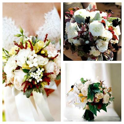 Ramo novias flores blancas y color