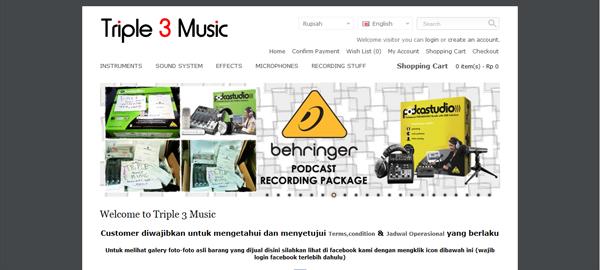 Triple3music.com Toko Online Alat Musik Terpercaya