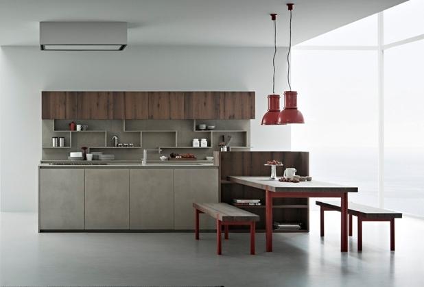 Cocinas con frentes de resina de cemento nicas e for Cocinas modernas en cemento