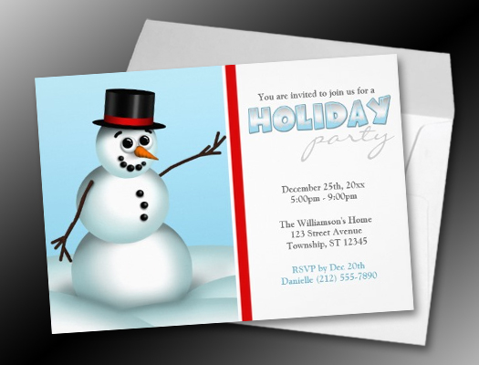 Fun Little Snowman Holiday Party Invitations