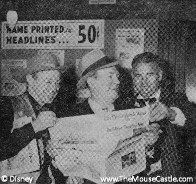 Wally Boag, Pat O'Brien and Joe Amendt at Disneyland, March 1956
